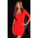 One schoulder dress red